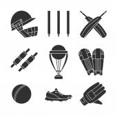 Set of cricket game equipment silhouettes isolated elements on white background Cricket ball bat cricket glove sneaker cricket helmet batting pads trophy bails stump wicket