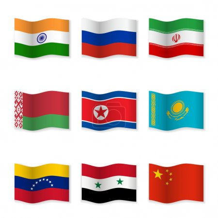 Waving flags of Russian ally countries. Flag icons...