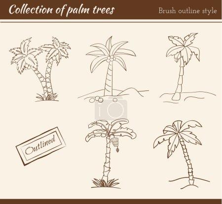outline palm trees set