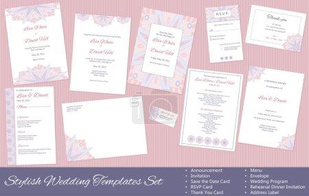 Illustration for Stylish Wedding Templates Set - Royalty Free Image