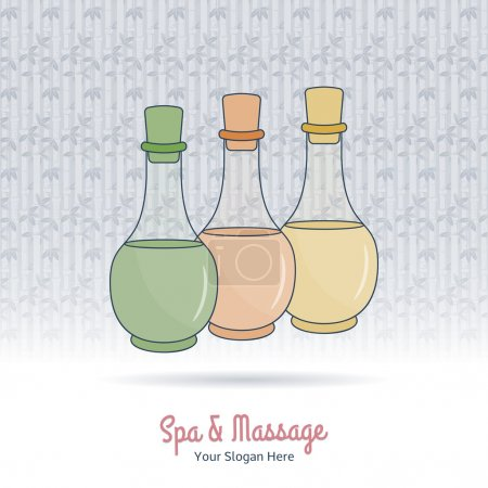 Illustration for Hand drawn bottles of spa oils, branding identity elements on grange background. Concept for beauty salon, massage, cosmetic and spa. Isolated high quality vector. Easy to use business template - Royalty Free Image