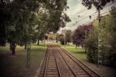 Railroad tracks on an autumn day