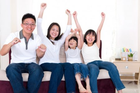Excited asian family