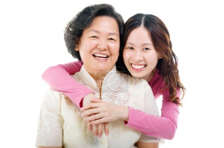 Photo for Cheerful asian senior woman and daughter - Royalty Free Image