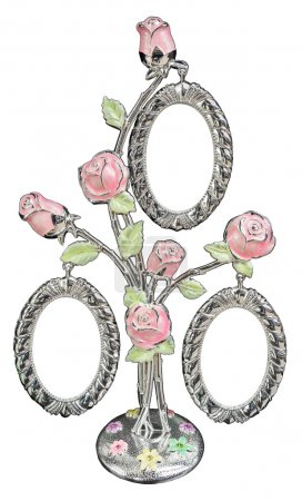 Silver photo frame as bouquet of rose
