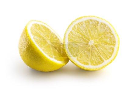 Photo for Two juicy sliced citrus lemon isolated on white background - Royalty Free Image