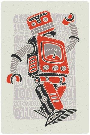 Funny vintage robot