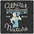 Vector t-shirt print with girl drinking water and ...