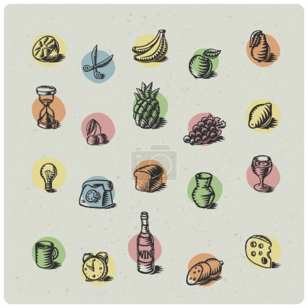 Photo for Hand drawn fruit icons set - Royalty Free Image