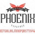 Vintage font Phoenix Typeface on white background...