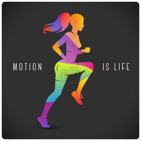 Illustration pour Affiche moderne avec course femme et citation motivante - image libre de droit