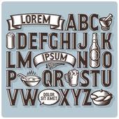 Set of vintage font and design elements
