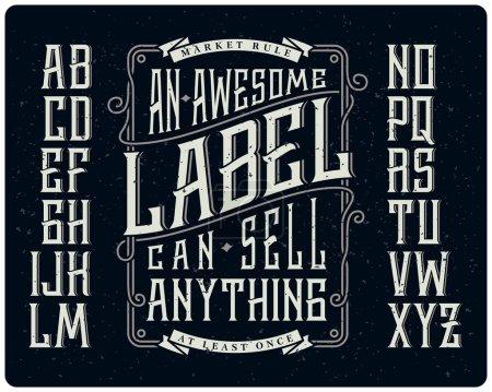 Illustration for Retro font set with ornament frame for making label design - Royalty Free Image