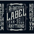 Retro font set with ornament frame for making labe...