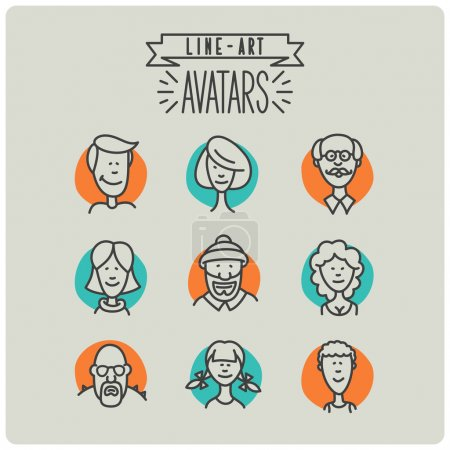 Illustration for Line art avatar icons set - Royalty Free Image