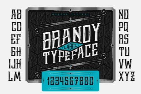 Illustration pour Vintage Brandy Label fonte classique ornée et modèle - image libre de droit