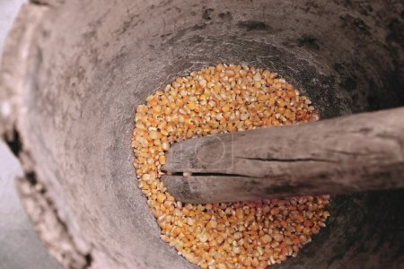 Corn being grinded