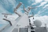 Satellite communication antenna on the top of large passenger ship.