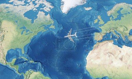 Photo pour Avion civil blanc au-dessus de l'océan Atlantique volant de l'Europe aux États-Unis - image libre de droit