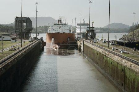 Large cargo ship entering Miraflores