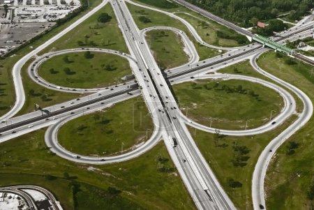 Aerial view of motorway freeway roads junction...