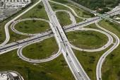 Aerial view of motorway freeway roads junction