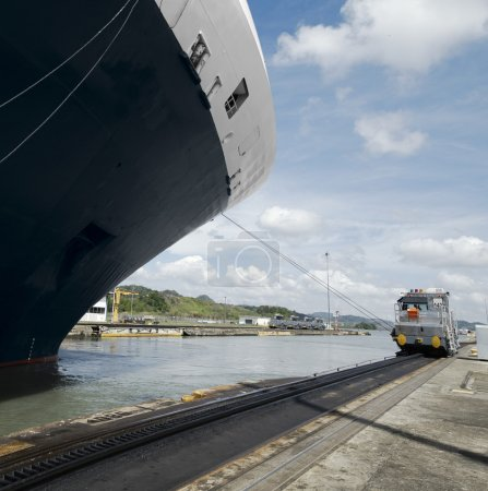Cruise ship exiting Pedro Miguel Locks, Panama Canal