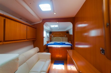 Bed in a luxury yacht boat decoration