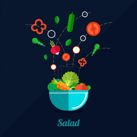 Vector illustration of cooking salad with bowl and...