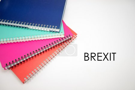 Brexit Concept - Brexit word with notebook isolated on white bac