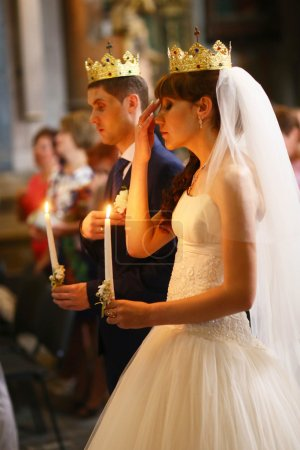 adorable couple in church of St. Peter