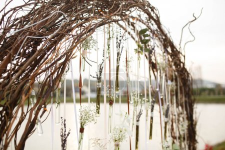 Creative cute decorated wedding arch