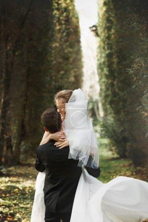 luxury stylish young bride and groom