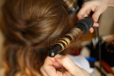 Photo pour Mode coiffure de curling élégant pour mariée de luxe - image libre de droit