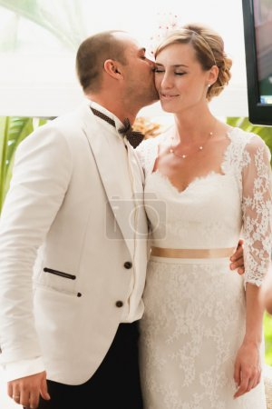 gorgeous blonde bride and stylish groom