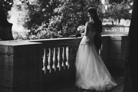 Gentle beautiful bride and groom