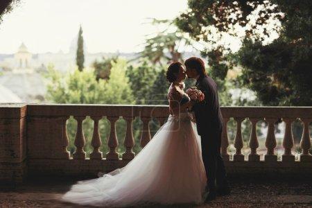 Gentle beautiful bride and groom holding hands