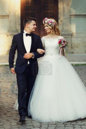 groom and beautiful bride