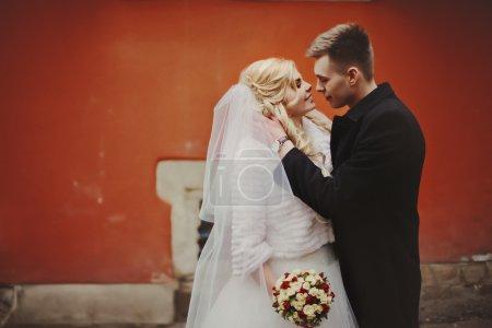 Sensual couple of newlyweds