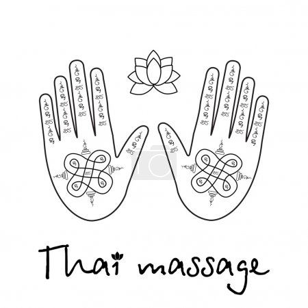 Illustration for Logo thai massage, hands with the thai pattern and a lotus flower - Royalty Free Image