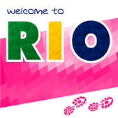 Rio vector Brazil Summer . Rio de Janeiro banner with polygonal colorful background.  Rio sport games background  - stock vector. Welcome to Rio.
