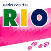 Rio vector Brazil Summer . Rio de Janeiro banner with polygonal colorful background.  Rio sport games background  - stock vector. Welcome to Rio.