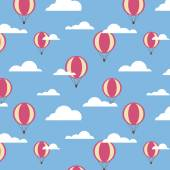 seamless pattern with big balloons and clouds