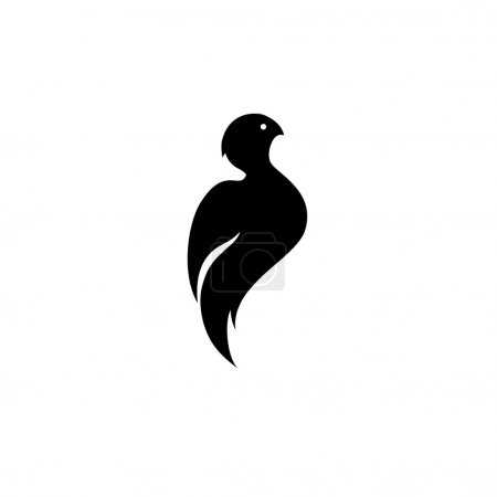 stylized black silhouette of a bird, a simple logo in the form o