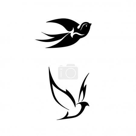 black stylized vector illustrations of birds
