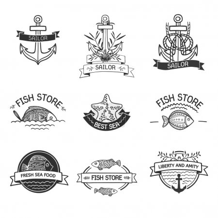 Illustration pour Etro Vintage Insignias or Logotypes set with with fish, sea elements and ribbons. Vector design elements, business signs, logos, identity, labels, badges and objects. Hand drawn style. Vector - image libre de droit