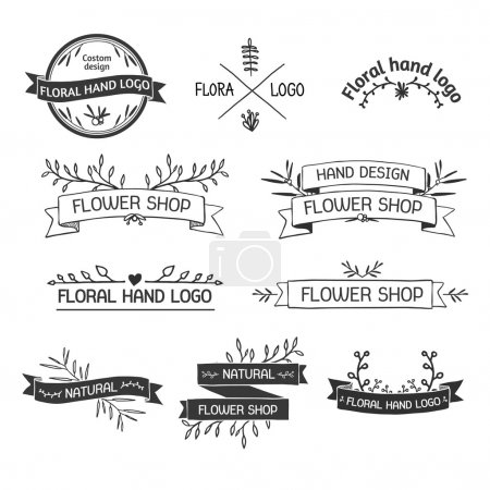 Illustration for Retro Vintage Insignias or Logotypes set with floral elements and ribbons. Vector design elements, business signs, logos, identity, labels, badges and objects. Vector. - Royalty Free Image