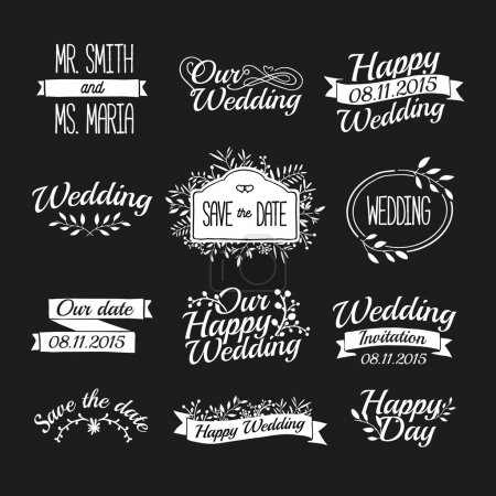 Illustration for Set of wedding vintage retro logos, signs, labels, stickers. Typographical background with floral ornaments, ribbons, frames. Vector. - Royalty Free Image