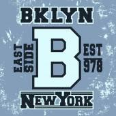 T-shirt print design Brooklyn New York vintage stamp Printing and badge applique label t-shirts jeans casual wear Vector illustration