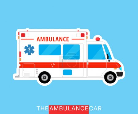 Illustration for Ambulance car isolated. Medical help bus. Special service vehicle. Vector illustration - Royalty Free Image